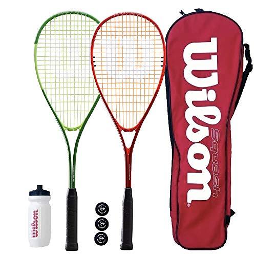 Wilson Pro Raqueta De Squash Set 2x & 3 Esferas (1 Rojo/Blanco & 1 Azul/Blanco)