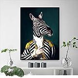 KWzEQ Imprimir en Lienzo El Sr. Zebra para la decoración del hogar Fotos póster de Arte de pared50x75cmPintura sin Marco