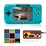 EASEGMER Handheld Games Console, 500 Retro FC Games 4 Inch Video Game Handheld Console - 12 Bit Rechargeable Game Player Support TV/AV Output & Two Players, Best Gift for Kids and Adults (Blue)