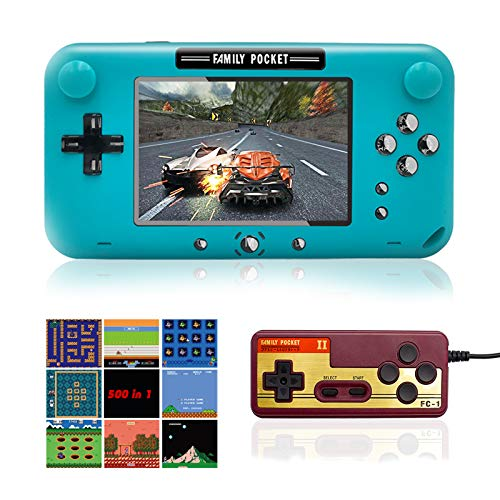 EASEGMER Handheld Game Console, Portable Game Player Built-in 500 Classic Games 4 Inch Retro Gaming System, Support TV/AV 12 Bit Rechargeable Video Game Console, Best Gift for Kids and Adults (Blue)