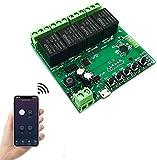 Módulo de relé inalámbrico Abrepuertas WiFi interruptor 4 canales avance lento/autobloqueo relé DIY control remoto de puertas garaje con control remoto RF de 433 Mhz compatible con Alexa, Google IFTTT