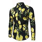 Camisas de Vestir para Hombre Camisa Casual con Estampado de Frutas de Tendencia de Moda Informal Slim Fit, Camisas de Trabajo clásicas M