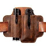 XL EDC Leather Belt Sheath Organizer for 5 Inch Knives Tactical Flashlights Tools, EDC Pocket Organizer Pouch for Regular EDC Knives, EDC Leather Sheath Holster. Chestnut.