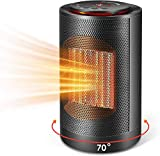 Space Heater, Portable Space Heater 1200W / 750W with Overheat Protection & Tip-Over Protection Personal Heater with Adjustable Thermostat Fast Heating for Home & Office