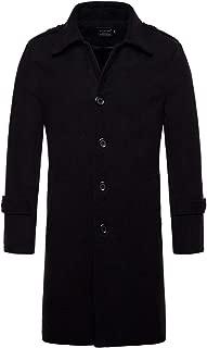 AOWOFS Men's Mid Long Wool Woolen Pea Coat Single Breasted Overcoat Winter Trench Coat