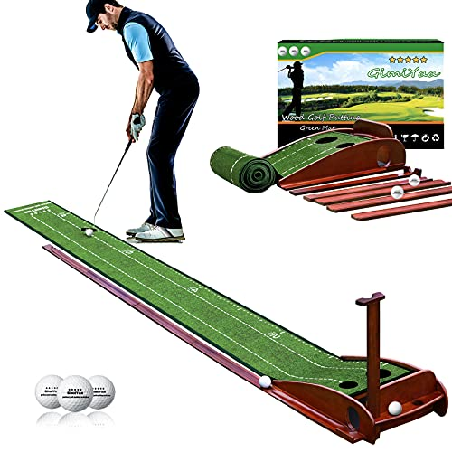 GimiYaa Golf Putting mat Green Indoor and Outdoor with Auto Ball Return,Game Practice Golf Gifts for...