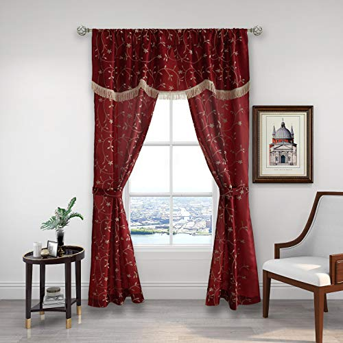 """Floral Window Curtain Panel Set with Attached Valance Botanical Embroidery Taffeta- 2 Panels 1 Valance with Tassel and 2 Tiebacks for Bedroom Living Room (Rod Pocket, 55""""×63"""" Curtain Panel, Red)"""