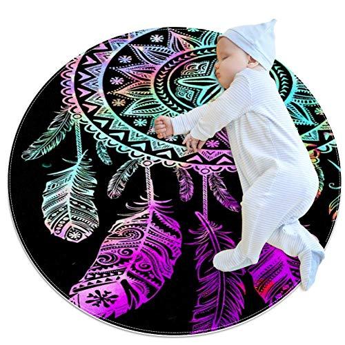 Tapis rond de 1,0 m de diamètre pour intérieur - Attrape-rêves - Doux - Pour salon, chambre à coucher - Tapis de yoga - Décoration de la maison