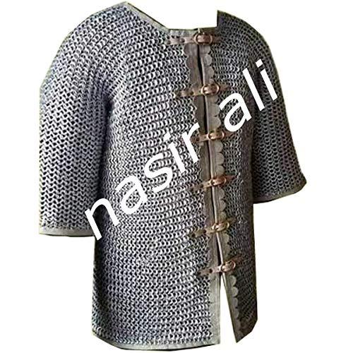 NASIR ALI Kettenhemd aus Aluminium, flach vernietet, Flat Warser-Leder-Finish (48 * 10 * 32)
