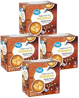 Great Value Hazelnut Cappuccino Mix Naturally Flavored Single Serve Cups, 0.53 oz, 18 count (Pack of 4)