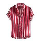 Camisa de verano para hombre, manga corta, con botones, para verano, vintage, con bolsillos, para el tiempo libre rojo_1 XL