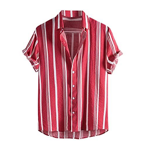 Xmiral Camicia Uomo Vintage Etnico Shirt Maniche Corte Estate Casual Hawaiana Maglietta Top Camicette Camicie Tasche Stampate a Righe Casual (S,5Rosso)