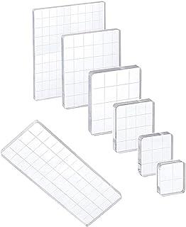 Bloc de Timbre Acrylique 7 pièces, Bloc de Timbre Acrylique avec Lignes de Grille, kit de Fabrication de Timbres pour Scra...