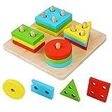 Hrph Educativos de madera geométrico Junta de reunir bloques Montessori para...