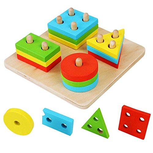 Hrph Educativos de madera geométrico Junta de reunir bloques Montessori para niños juguetes educativos del bebé de los bloques huecos