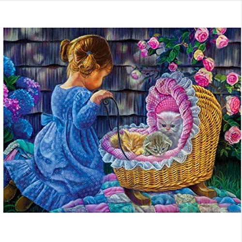 N\A Pintura por Numeros Adultos Niños - Kit Pintura Niños - Manualidades Adultos - DIY Chica Azul Y Gato Cuna