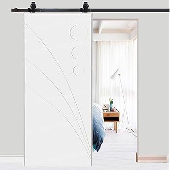 Riel para puerta corredera, puerta corredera de chapado, kit accesorios para la puerta de la casa máxima carga 120 kg negro 78,7 pulgadas (6,6ft-piegatura): Amazon.es: Bricolaje y herramientas