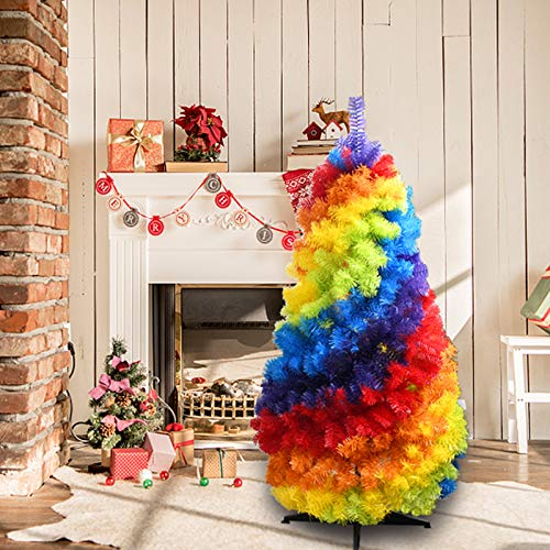 KongLyle �rbol de Navidad arcoíris en 2020, 1,2 m plegable de PVC