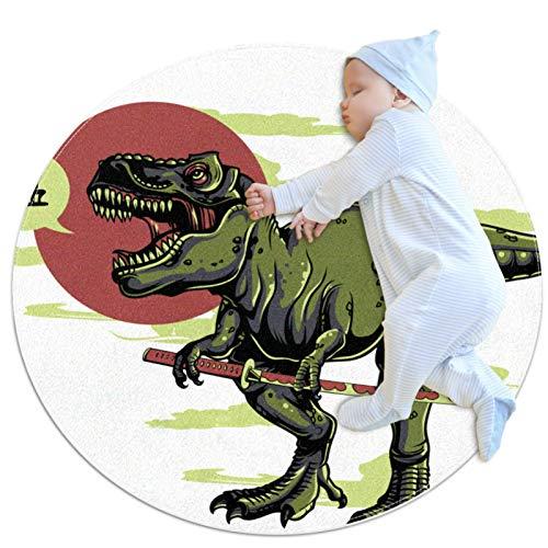 Z&Q Alfombrilla Redonda antifatiga Comfort para Cocina Espada de Dinosaurio Alfombra Lavable a máquina para Piso de Cocina, con Respaldo de látex Antideslizante 70cm