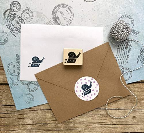 Snail Mail Holzstempel, Schnecke mit Briefumschlag Stempel handgeschnitzt, Schneckenpost Motiv, Post-Stempel, DIY, Basteln, Drucken, Kinderstempel, Geschenk