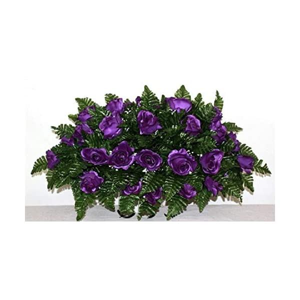 XL Purple Roses Artificial Silk Flower Cemetery Tombstone Grave Saddle