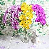 shenlanyu Fleur Artificielle 1 Pcs 9 Têtes 95 Cm Fleur Artificielle Phalaenopsis Latex Silicium Real Touch Grande Orchidée Orchidée Mariage Pièces Uniques De Haute Qualité (Livraison Aléatoire)