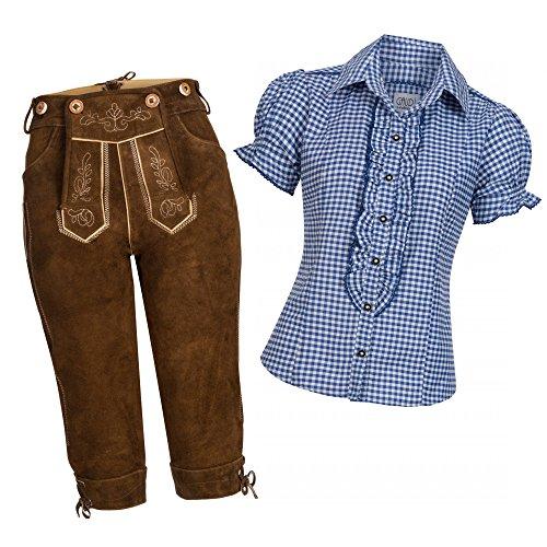 Gaudi-Leathers Damen Set Kniebund hellbraun Gr. 48 + Trachtenbluse Ronda blau Gr. 40