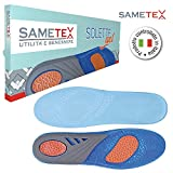 Sametex Solette Gel, Soletta Antiscivolo Antiodore, Utili per Lavorare Camminare Correre, Ammortizzano il Piede dal Peso del Corpo, Prevengono Fascite Plantare.