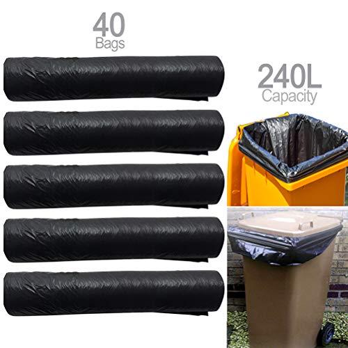 Schone Products (UK) 40 sacchetti per la spazzatura con ruote, mantiene i bidoni puliti e inodori, capacità 240 l
