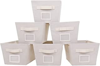 MustQ Storage Cubes Bins Baskets Containers with Dual Handles,Foldable,Set of 6 (Beige)