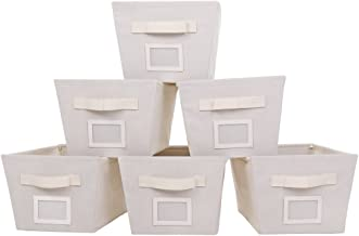 MustQ Storage Cubes Bins Baskets Containers with Dual Handles,Flodable,Beige,Set of 6 (Beige)