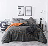 SUSYBAO 3 Pieces Duvet Cover Set 100% Natural Cotton Queen Size Orange and Grey Reversible Bedding with Zipper Ties 1 Stripe Plaid Duvet Cover 2 Pillowcases Luxury Quality Soft Breathable Comfortable