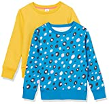 Amazon Essentials Sudadera de Forro Polar con Cuello Redondo Fashion-Sweatshirts, Paquete de 2 Animales Azules/Dorados, 11-12 años