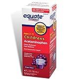 Equate Children's Acetaminophen, Pain Relief, Ages 2-11, Grape Flavor, Oral Suspension, Liquid 4-oz
