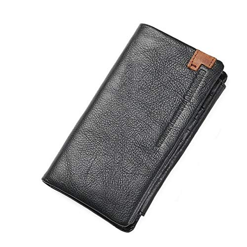 Xennos Wallets - Best Sell Men Wallets Vintage Cow Genuine Leather Wallet Short Long Zipper Hasp Wallet Price Coin Purse Card Holder Wallet Black - (Color: Chocolate)