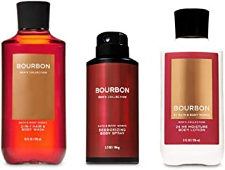 Bourbon - Men's - Daily Trio - Gift Set -2-in-1 Hair + Body Wash, Deodorizing Body Spray and Body Lotion – (2019 Edition) - Bath and Body Works