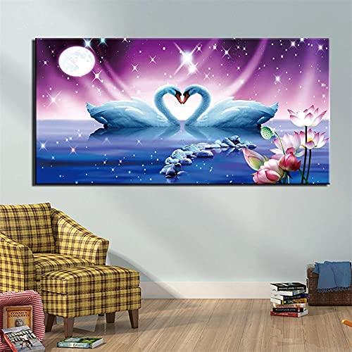 Grande Diamond Painting Cross stitch Kit, Cisne Lotus 5D DIY completos diamantes de imitación de cristal bordado de Decoración de la sala de decoración pegatinas de pared(60x120cm/24x48in)