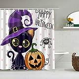 DAHALLAR Duschvorhang,Halloween Kürbisse Cartoon Katze Magic Hat Dots,personalisierte Deko Badezimmer Vorhang,mit Haken,180 * 180