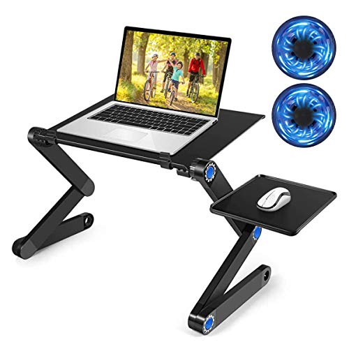 Adjustable Laptop Stand, Portable Laptop Table with 2 CPU Cooling Fans, Detachable Mouse Pad, Ergonomic Laptop Desk, Foldable Cook Book Stand Notebook Holder Sofa, Bed Table Office Tray