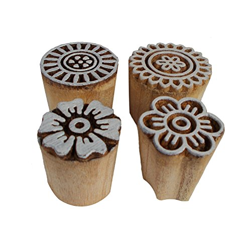 Bunch of 4 Floral Motif Printing Blocks Wooden Stamps Textile Clay Pottery Craft Scrapbook Print Henna Tattoo Block Stamp