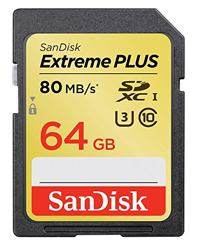 SanDisk Extreme 64 GB SDXC Class 10 UHS-1 Flash Memory Card 80MB/s (SDSDXS-064G-AFFP)