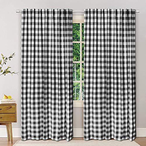 Dining Room Curtains, Gingham Check Curtains, Rod Pocket Curtain, Window treatment, Décor panel, Check Curtains, Reverse Window Panels, Curtain Panels for Door- 50x96 Inch-Black White-Set of 2 Panels