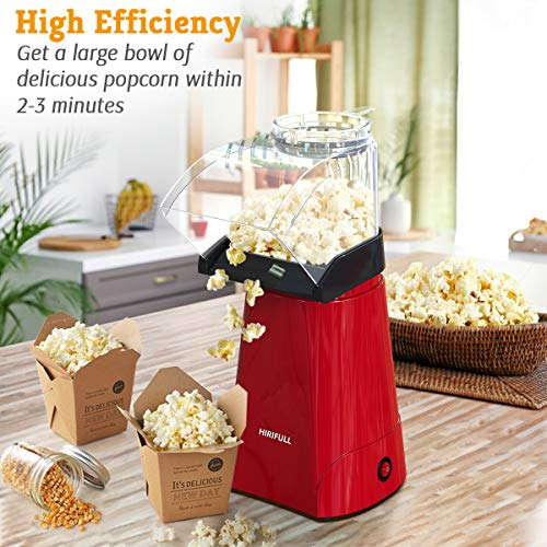 Product Image 2: HIRIFULL 1200W Hot Air Popcorn Poppers Machine, Home Electric Popcorn Maker with Measuring Cup, 3 Min Fast Popping, ETL Certified, BPA Free, No Oil, DIY Flavors, Great for Home Movie TV, Party(Red)