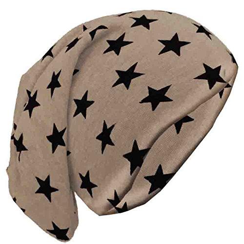 BRUBAKER - Bonnet Slouch - Motif petites étoiles - Unisexe - Brun clair
