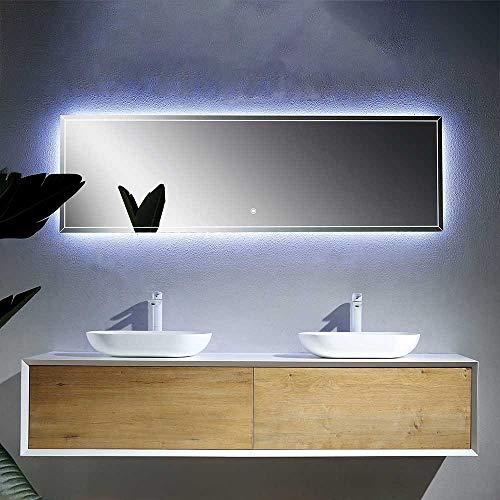 Pharao24 Design Badezimmer Set mit Doppelwaschtisch Weiß und Esche Dekor Breite 180 cm