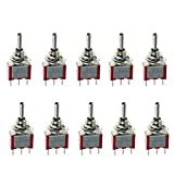 ESUPPORT On/Off/On Mini Miniature Toggle Switch Car Dash Dashboard SPDT 3Pin Pack of 10