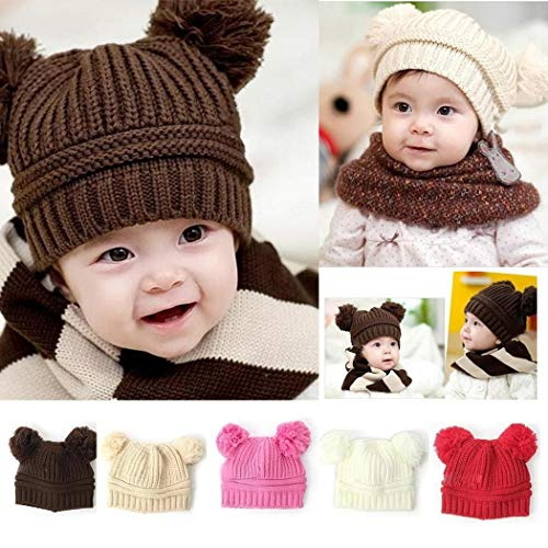 evelove Kids Baby Solid Knit Hats Double Pompom Fur Ball Hat Winter Warm Cap Hats & Caps