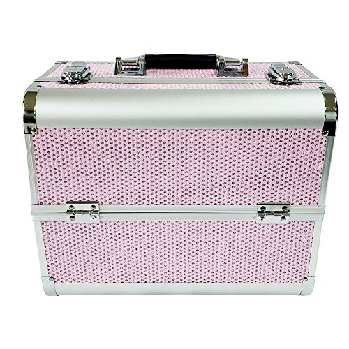 DLMYZ Aluminium Vanity Make-Up Cosmetic Box Case for Nail Hair Salon Jewelry with 4 Long Tray/Clasp Lock with Keys,Pink