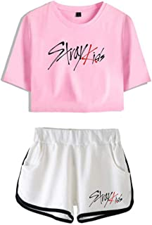 FEIRAN Stray Kids Boy Band Short Shorts de Manga Corta para Mujer y niña Top + Shhort Set C Powder + White L