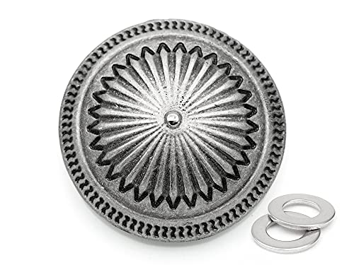 craftmemore 2pcs 11/2pulgadas de Vintage Navajo tornillo Back Conchos Cowboy Western Texas Leathercraft adornos botones